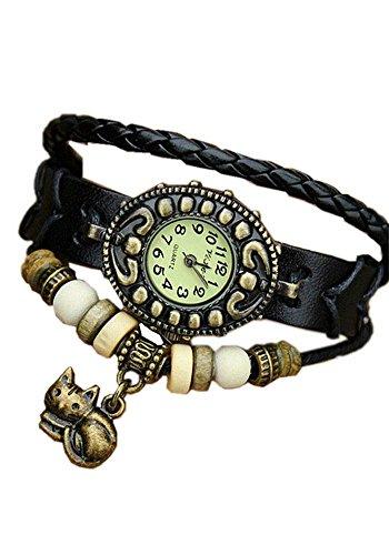 DAYAN Signore cuoio delle di quarzo analogico orologio antico bracciale da polso con l'annata gattino gatto ciondolo Colore Nero