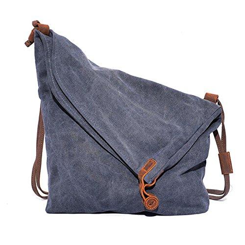 Crazy Horse Hide ragazze Shoulder Bag Borsa della borsa di tela multifunzionale incline viaggio retrò tempo libero, gli studenti sacchetto dell'annata Canvas Messenger Bag Dimensioni: 38 x29 x12cm(grigio)