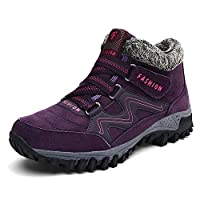 Anokar Womens Men Hiking Boots Walking Shoes Trekking Winter Fur Lined Snow Boots for Ladies Warm Ankle Running Trainers Unisex Outdoor, 40EU, Purple