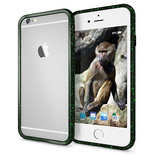 iPhone 6 6S Sternenhimmel Bumper von NICA, Dünner Rutschfester 3D Silikon Rahmen Soft & Ultra-Slim Protector, Stoßfester Smart-Phone Schutz-Rand Gel Gummi Rugged für Apple iPhone 6S 6, Farbe:Blau Grün