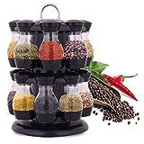 Janolia Gewürzregal, Drehbar Doppelschicht Gewürzglas-Set mit 16 Flaschen für Küchentheke