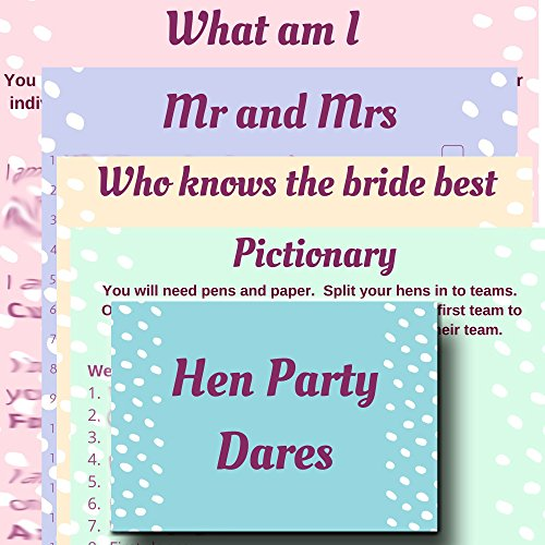 Hen Night Party Games Value Pack. 5 Hen Party