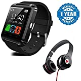 #10: captcha U8 Bluetooth Smart Notification Wrist Watch with Mega Bass Headphone Suitable with all Android or Iphone Devices (Colour May Vary)