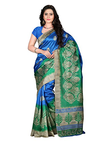 E-VASTRAM Women\'s Art Mysore Printed Silk Saree (NS4C_Royal Blue)