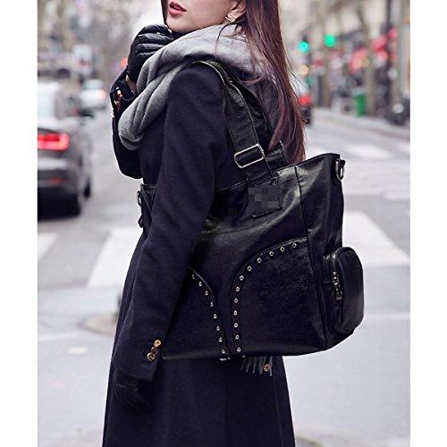 Donne Moda Cuoio Pu Borse Signora Rivetto Portafoglio Borse A Tracolla Borsa Da Tote Black