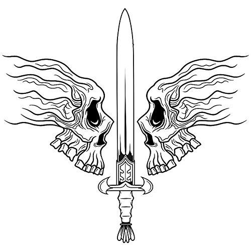 Schädel Halloween Schwert Soldat Aufkleber Punk Tod Aufkleber Halloween Teufel Poster Name Autofenster Kunst Wandtattoos Dekor Wandbild 94x90 cm