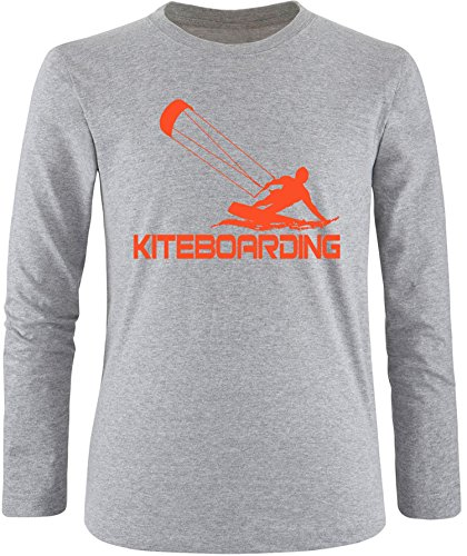 EZYshirt® Kiteboarding Herren Longsleeve Grau/Orange