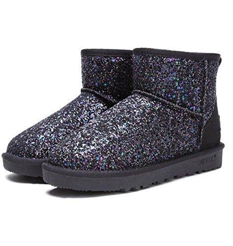 TT&XUEDIXUE Weibliche Schneeschuhe / kurze Ärmel flache Stiefel / dicke Baumwolle Studenten Schuhe / weibliche Stiefel / Pailletten / Silber / schwarz , black , 37