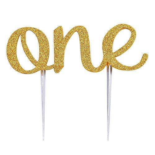 One Buchstabe Birthday Cake Karte Dekoration mit doppelseitig Gold Glitter (Hochzeitstorte Schneiden Set)