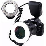 Yeeteem RF-600D Flash annulaire macro Ring flash 18 LED pour Canon, Nikon, Panasonic, Olympus, Pentax SLR avec 8 adaptateurs et 4 anneaux diffuseurs de flash Transparent, Blanc Opaque, Jaune et Bleu