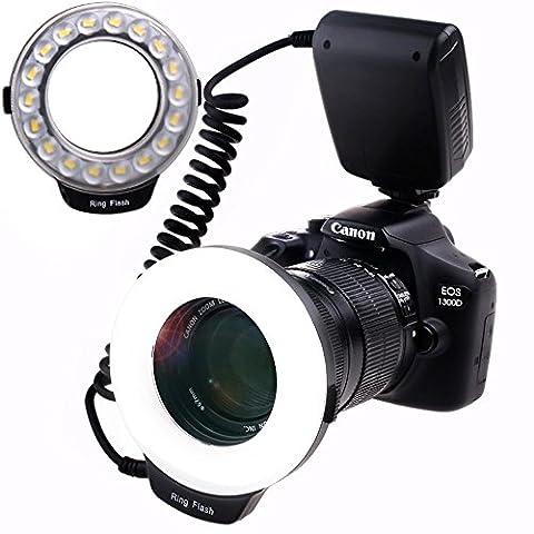 Ringblitz für Canon Nikon Panasonic Olympus Pentax SLR Kameras - Yeeteem 18 Makro LED Ring Blitzlicht Ringblitzleuchte Ringblitz RF-600D Enthält 4 Diffusoren (klar, wärmend, blau, weiß), mit Adapterringen (49mm, 52mm 55mm, 58mm, 62mm, 67mm, 72mm, (Blitzlicht Canon)