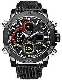 AnazoZ Reloj Multifunción Reloj Deportivo Reloj Impermeable Reloj Hombre Reloj Japones Reloj Quartz Negro