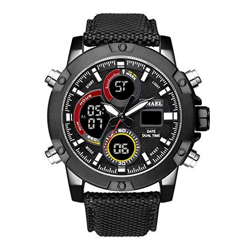 Adisaer Wasserdichte Herrenuhr Wasserdicht Leder Armband Quarz Uhr Herrenuhr Multifunktional Schwarz Outdoor Sportuhr Armbanduhr Automatikuhr