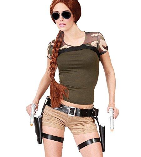 Pistolengürtel inklusive 2 Waffen Halfter Doppelholster mit Pistolen für Polizist Spion SWAT Lara Croft (Kostüm 007 Agent)