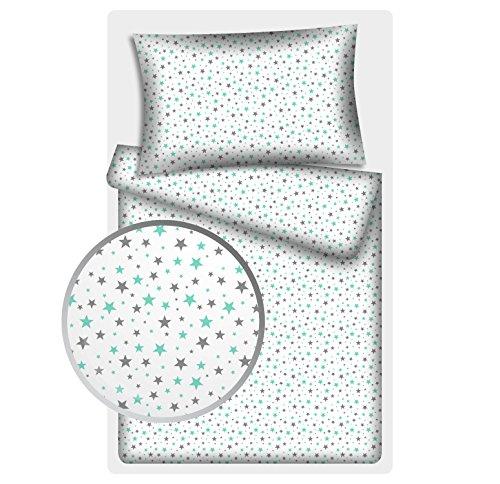 Kinderbettwäsche Stars 2-tlg. 100% Baumwolle 40x60 + 100x135 cm mit Reißverschluss (Ministars mint)