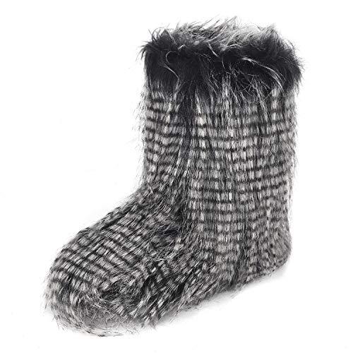 YJZQ Damen Hohe Hausschuhe Winter Pantoffeln Stiefel mit weichen Poms Plüsch Hüttenschuhe Rutschfester Hausstifel Gemütliche Schuhe für Zuhause und Outdoor - Pom Pom Flache Stiefel