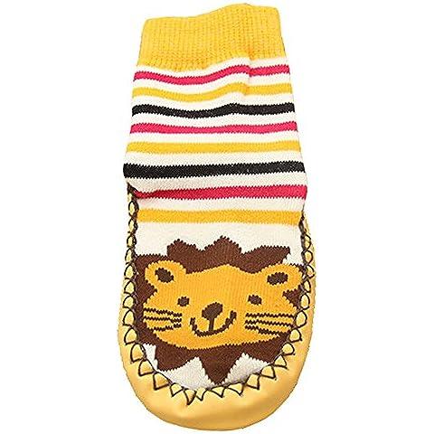 Tang Imp calzini sportivi in cotone antiscivolo per bambino unisex scarpe bambini Pavimento Sock Moccasins Stripe Leone - Leone Pantofole