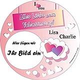 Personalisierte Tortenauflage für Valentinstag +Foto +2 Namen, rund