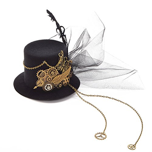 BLESSUME gotisch Frau Steampunk Gang Flügel Uhr Schmetterling Hut Spitze Haar Clip (Flügel Kostüm Frau)