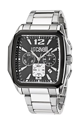 Just Cavalli Men's Watch R7273173525 In Collection Rider, Chrono, Black Dial and Stainless Steel Bracelet