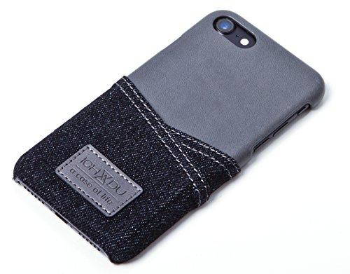 Hülle für Apple iPhone 7, Backcover im Jeans-Look, Case in Braun oder Schwarz von ICH&DU (Iphone 4 Etui Welt Karte)