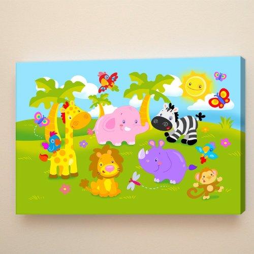 STICASA Kunstdruck auf Leinwand auf Holzrahmen 90 x 60 x 2 cm – Katzenmotiv – Jungle Fun: