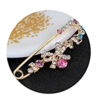 Carr Coverdale Pendants Pins Silver Color Safety Pin Brooch Jewelry Rhinestone Men Brooches for Suit Scarves Corsage Sweater Collar H