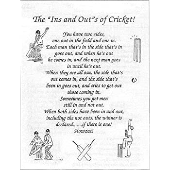 """'The """"INS"""" and """"OUTS"""" of Cricket' Tea Towel 100% Cotton"""