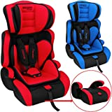Monzana® Kindersitz Autokindersitz ✔ 5-Punkt Gurtsystem ✔ Gruppe 1 + 2 + 3 ECE R44/04 ✔ 9-36 kg Sitzerhöhung Kinderautositz Rot-Schwarz Farbwahl