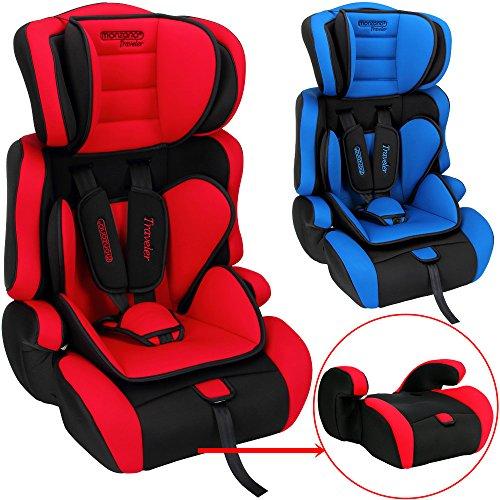 Monzana® Kindersitz Autokindersitz ✔ 5-Punkt Gurtsystem ✔ Gruppe 1 + 2 + 3 ECE R44/04 ✔ 9 - 36 kg Sitzerhöhung Kinderautositz Rot-Schwarz Farbwahl