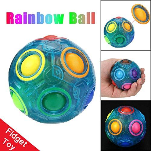 QUINTRA Luminous Stress Reliever Magische Regenbogen Ball Spaß Cube Zappeln Puzzle Bildung (Regenbogen Flügel Erwachsenen Die)