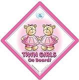 Twin On Board Car Sign, Twin Girls on Board Sign, Pink Bears, Twins On Board, Baby on Board Sign, Twins on Board Sign, baby on board, Twins, Baby Sign, Bumper Sticker, Car Sign, Decal, Grandchild