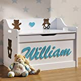 Teddy Boy or Girl Personalised Toy Box Nursery Chest Large Storage Wooden Safe Lid Name and Figures