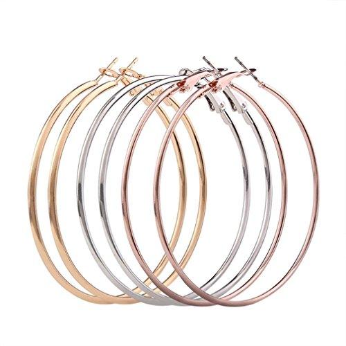 Jaminy 3 Pair New Fashion Lady Women Thin Round Big Large Dangle Hoop Loop Earrings