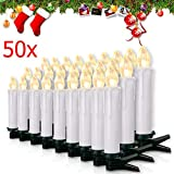 Miafamily 20-60er Weinachten LED Kerzen Weihnachtsbeleuchtung Lichterkette Kerzen kabellos Weihnachtskerzen Weihnachtsbaum Kerzen mit Fernbedienung kabellos Baumkerzen(weisse Hülle, 50er)