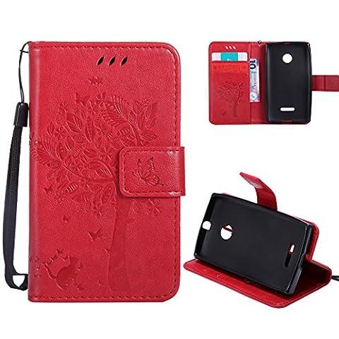 Housse Protection Nokia Rouge - OuDu Housse Microsoft Nokia Lumia 435 Etui