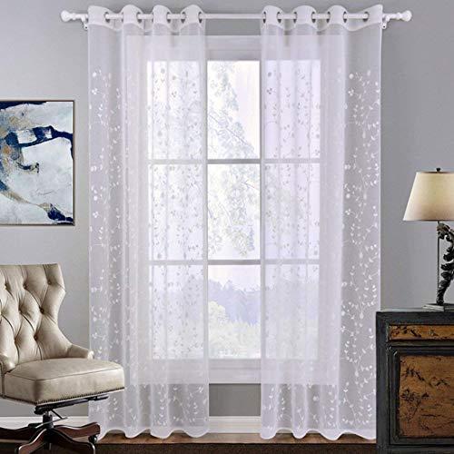 GWELL Weiß Transparent Gardinen Ösenschal Vorhang mit Ösen Dekoschal für Wohnzimmer Schlafzimmer 1er-Pack Muster-B 220x140cm(HxB)