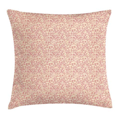 HLKPE Animal Print Throw Pillow Cushion Cover, Doodle Illustrations of Piggies Sheep Chicks Ducks Cute Farm Fauna, Decorative Square Accent Pillow Case, Pale Ruby Pale Peach,24 X 24 Inches Kings Crown Ruby