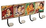 Lashuma Wandgarderobe Retro Haken Design Drinks, Vintage Blechschild Küchenhaken 40 x 15,5 cm, Badezimmer 4er Hakenleiste