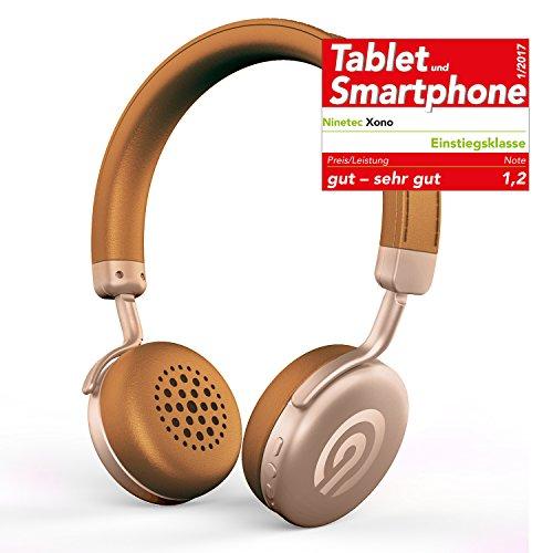 Solo-verstellbare Bügel (NINETEC Xono Wireless Bluetooth Stereo Bügel-Kopfhörer Headset HIFI Headphone Braun-Gold)