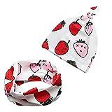 iZiv Babybekleidung Schals Niedliche Baby Kleinkind Kinder Cartoon drucken Hut Kappe Mütze + Schal Warp Set für 0-2 Jahre (Erdbeere)