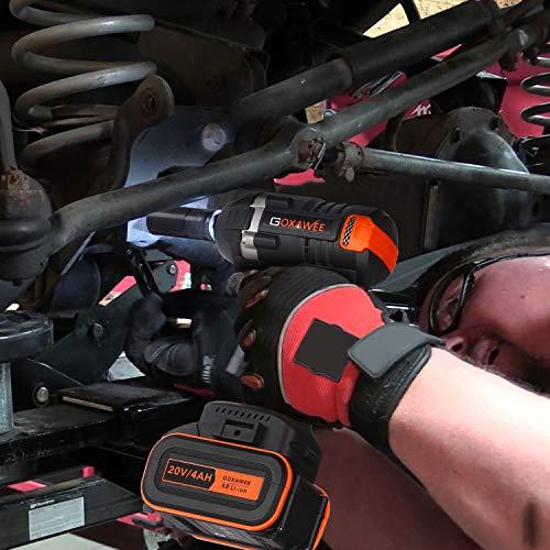GOXAWEE Akku Schlagschrauber 20 Volt / 4 Ah Akku, max. 300 Nm, bürstenlos, mit Werkzeugkoffer - 6