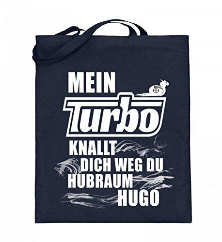 Hochwertiger Jutebeutel (mit langen Henkeln) - Auto - Mein Turbo knallt dich weg Dunkelblau