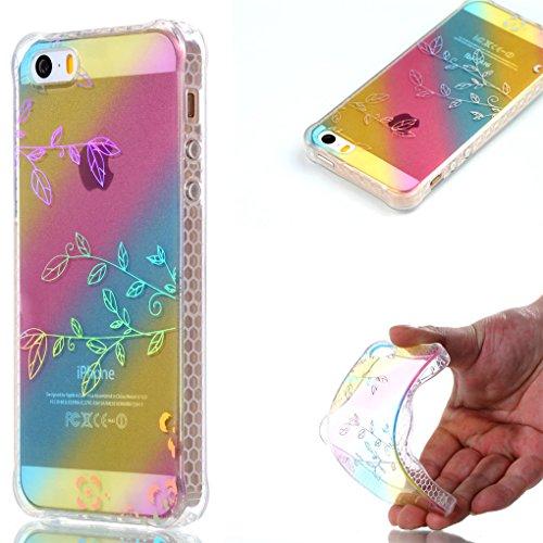 Apple iPhone SE 5 5S Hülle, SATURCASE Schönes Muster Überzug Ultra Dünn Weich TPU Gel Silikon Schützend Zurück Case Cover Tasche Schutzhülle Handyhülle für Apple iPhone SE 5 5S (Design-1) Design-3