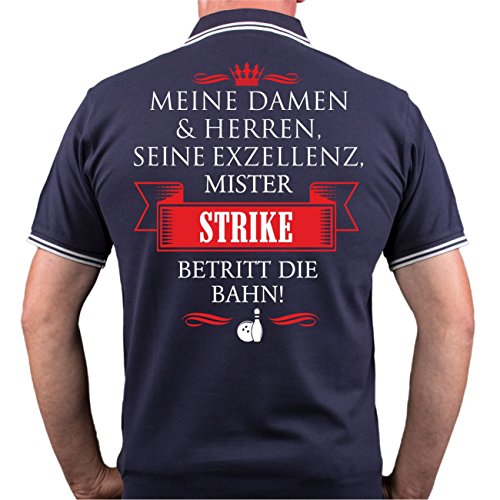 Männer und Herren POLO Shirt Seine Exzellenz DER BOWLER (mit Rückendruck) Dunkelblau/Weiß