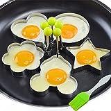 Tagliabiscotti, Intsun Acciaio inossidabile uovo fritto Mold Mold pancake cucina utensili Pancake Anelli con pennello olio