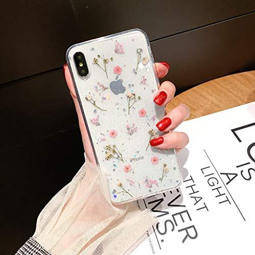 Bakicey iPhone Xs Hülle, iPhone X Handyhülle Getrocknete blumen Kristall Gel Schutzhülle Ultradünn Handgefertigt Immerwährende Blume Bumper Case Cover Schale Schutz hülle für iPhone Xs/iPhone X(E)