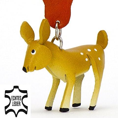 Reh Bambi - Deko Schlüsselanhänger Figur aus Leder in der Kategorie Kuscheltier / Stofftier / Plüschtier von Monkimau in braun - Dein bester Freund. Immer dabei! - 5x2x4cm LxBxH klein, jeweils 1 (80er Kostüme Bilder)