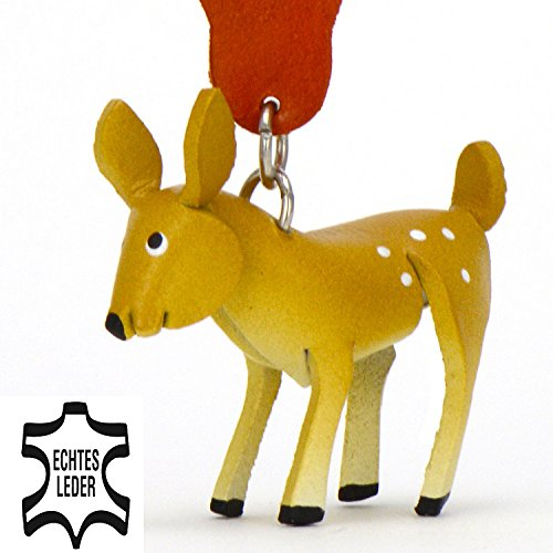 Reh Bambi - Deko Schlüsselanhänger Figur aus Leder in der Kategorie Kuscheltier / Stofftier / Plüschtier von Monkimau in braun - Dein bester Freund. Immer dabei! - 5x2x4cm LxBxH klein, jeweils 1 Stück