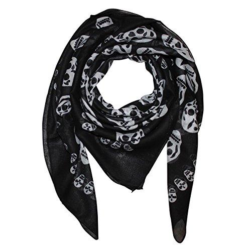 Freak Scene Pañuelo de algodón ° Calaveras 1 negras/blanco ° Pañuelo cuadrado para el cuello